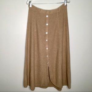 Isabella Bird Silk Linen Knit Skirt in Tan